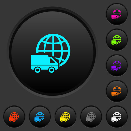 International transport dark push buttons with vivid color icons on dark grey background