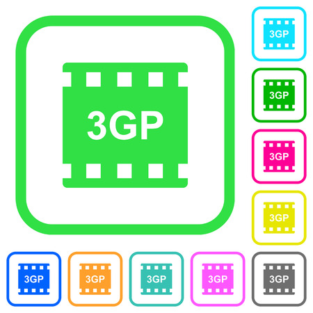 3gp movie format vivid colored flat icons in curved borders on white background