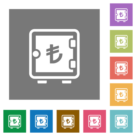 Turkish Lira strong box flat icons on simple color square backgrounds Illustration