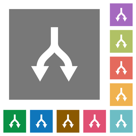 Split arrows down flat icons on simple color square backgrounds Vektorové ilustrace