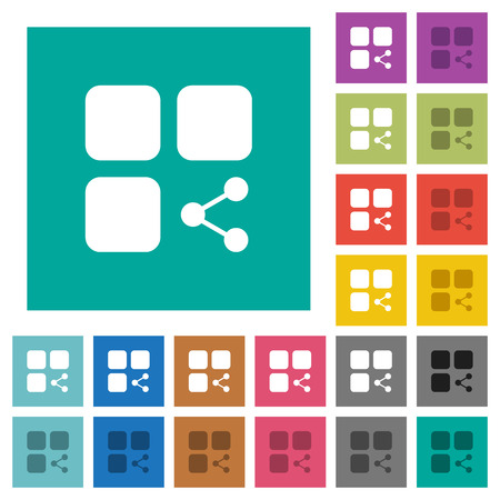 Share component multi colored flat icons on plain square backgrounds. Included white and darker icon variations for hover or active effects.