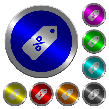 Discount price label icons on round luminous coin-like color steel buttons Ilustração