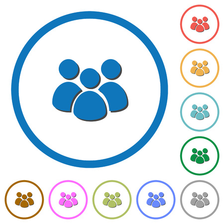 Team flat color vector icons with shadows in round outlines on white background Ilustração