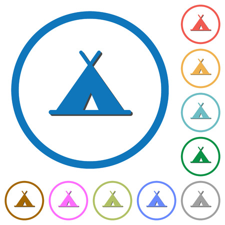 Tent flat color vector icons with shadows in round outlines on white background