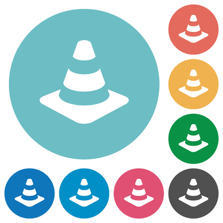 Traffic cone flat white icons on round color backgrounds