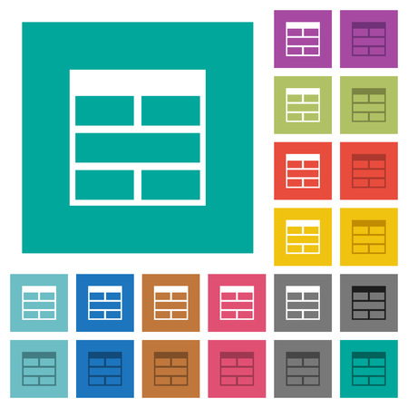 Spreadsheet horizontally merge table cells multi colored flat icons on plain square backgrounds. Included white and darker icon variations for hover or active effects.