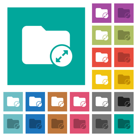 Uncompress directory multi colored flat icons on plain square backgrounds. Included white and darker icon variations for hover or active effects.