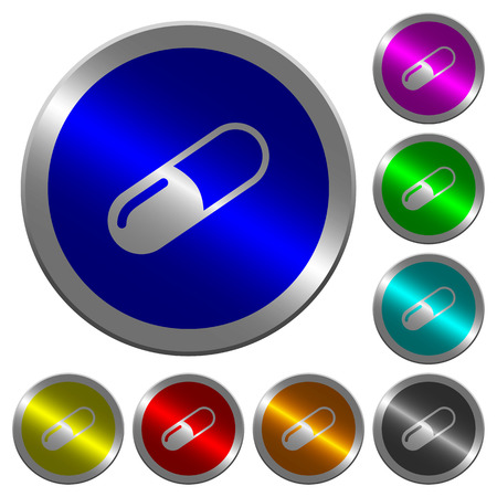 Pill icons on round luminous coin-like color steel buttons