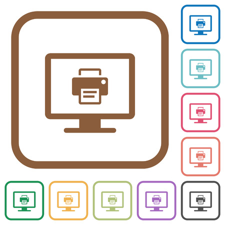 Print screen simple icons in color rounded square frames on white background