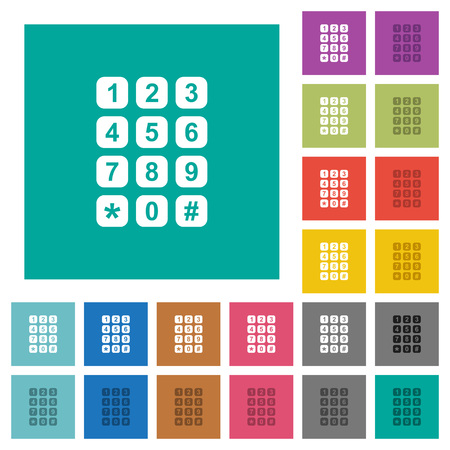 Numeric keypad multi colored flat icons on plain square backgrounds. Included white and darker icon variations for hover or active effects.
