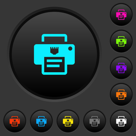 IP printer dark push buttons with vivid color icons on dark grey background