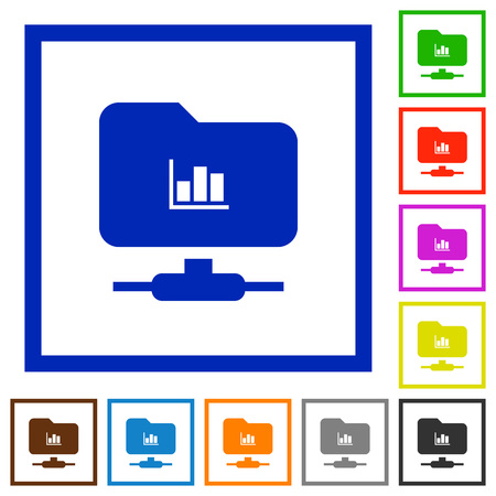 FTP statistics flat color icons in square frames on white background