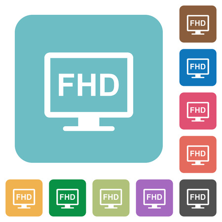 Full HD display white flat icons on color rounded square backgrounds