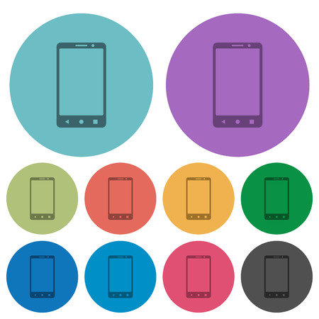 Modern mobile phone with three button darker flat icons on color round background
