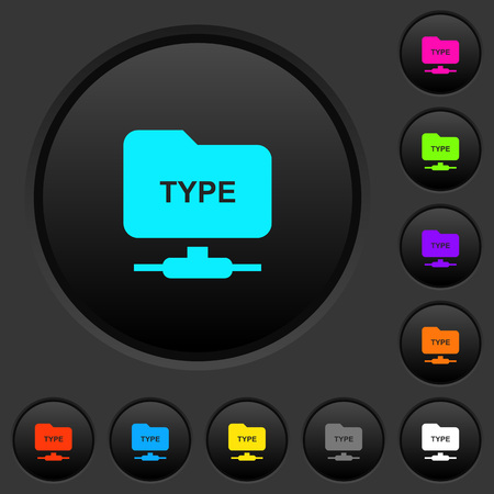 FTP enter passive mode dark push buttons with vivid color icons on dark grey background Stock fotó - 111675785
