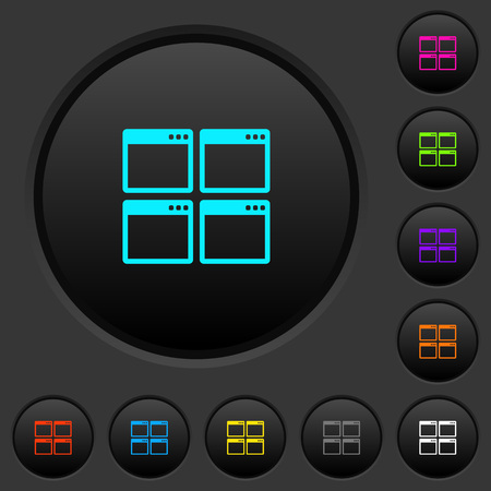 Mosaic window view mode dark push buttons with vivid color icons on dark grey background