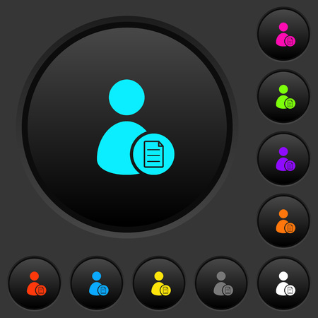 User account properties dark push buttons with vivid color icons on dark grey background