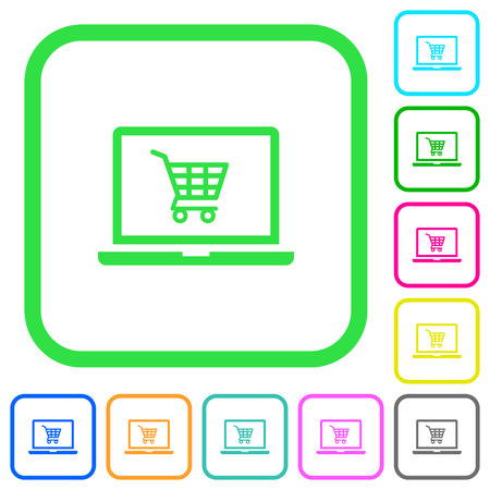 Webshop vivid colored flat icons in curved borders on white background