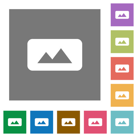 Panorama picture flat icons on simple color square backgrounds