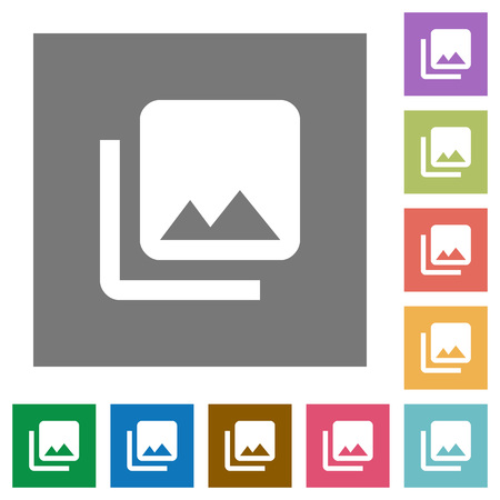 Photo library flat icons on simple color square backgrounds Illustration