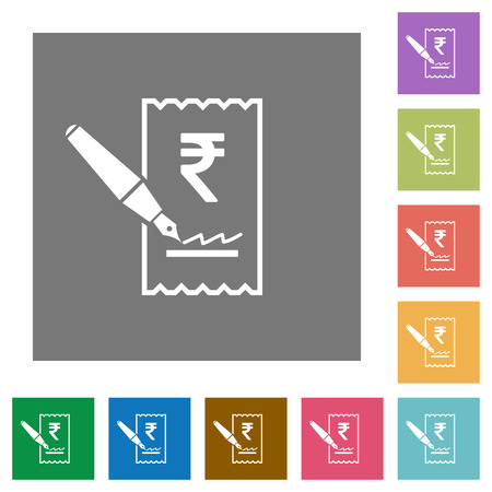Signing Rupee cheque flat icons on simple color square backgrounds
