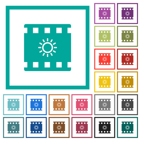 Movie brightness flat color icons with quadrant frames on white background