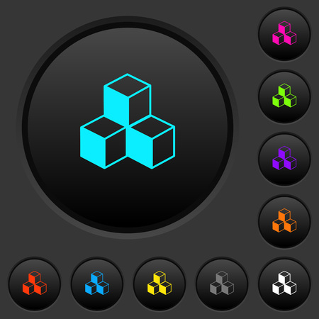 Cubes dark push buttons with vivid color icons on dark grey background