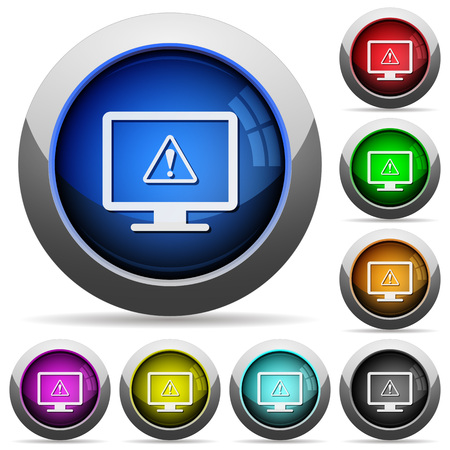 Display warning icons in round glossy buttons with steel frames Illusztráció