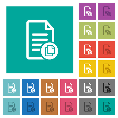 Copy document multi colored flat icons on plain square backgrounds. Included white and darker icon variations for hover or active effects.