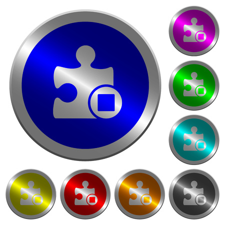 Stop plugin icons on round luminous coin-like color steel buttons