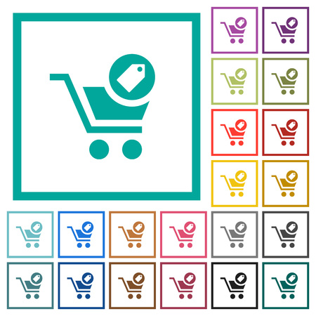 Product purchase features flat color icons with quadrant frames on white background Ilustrace