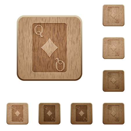 Queen of diamonds card on rounded square carved wooden button styles