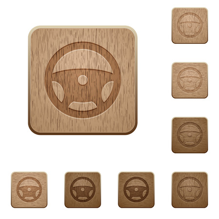 Steering wheel on rounded square carved wooden button styles Illustration