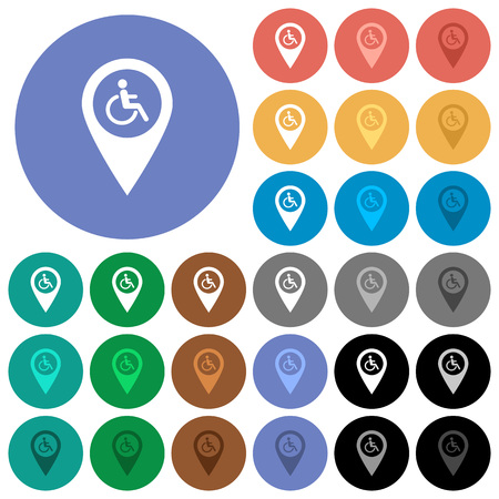 Disability accessibility GPS map location multi colored flat icons on round backgrounds. Included white, light and dark icon variations for hover and active status effects, and bonus shades on black backgounds.