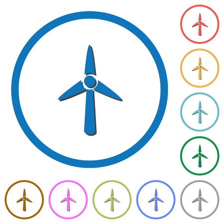 Wind turbine flat color vector icons with shadows in round outlines on white background