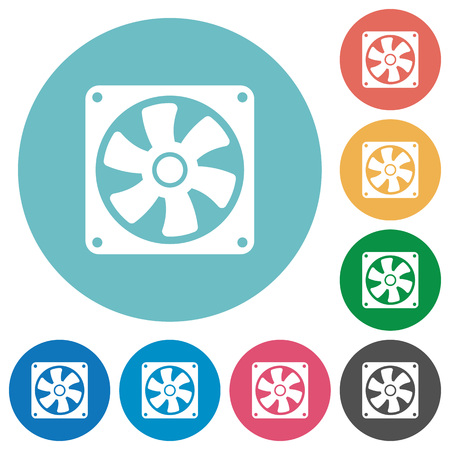 Computer fan flat white icons on round color backgrounds