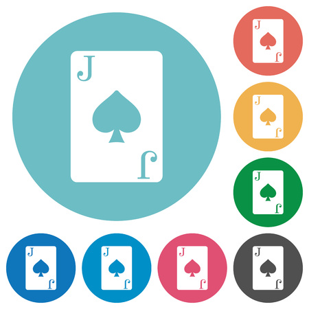 Jack of spades card flat white icons on round color backgrounds