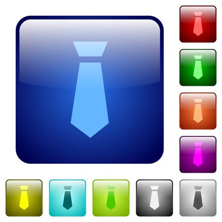 Tie icons in rounded square color glossy button set Vectores
