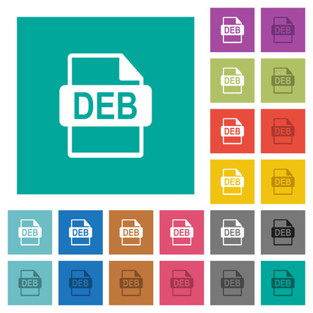 DEB file format multi colored flat icons on plain square backgrounds. Included white and darker icon variations for hover or active effects. Illustration