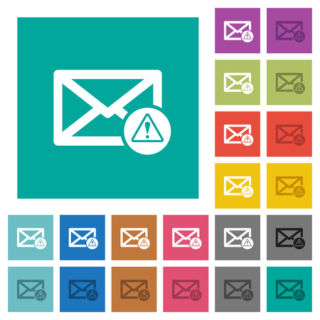 Mail warning multi colored flat icons on plain square backgrounds. Included white and darker icon variations for hover or active effects.