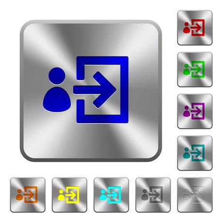 Icônes gravées de connexion utilisateur sur des boutons en acier brillant carrés arrondis