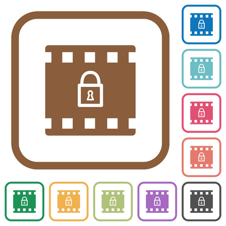 Encode movie simple icons in color rounded square frames on white background