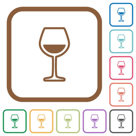 Glass of wine simple icons in color rounded square frames on white background