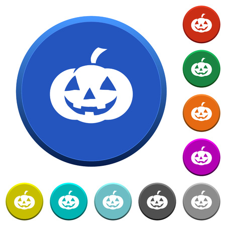 Halloween pumpkin round color beveled buttons with smooth surfaces and flat white icons