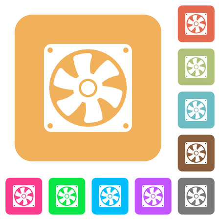 Computer fan flat icons on rounded square vivid color backgrounds. Ilustrace