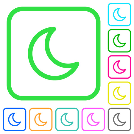 Moon shape vivid colored flat icons in curved borders on white background 向量圖像