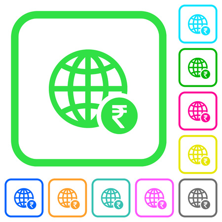 Online Rupee payment vivid colored flat icons in curved borders on white background