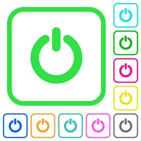 Power switch vivid colored flat icons in curved borders on white background