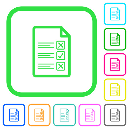 Questionnaire document vivid colored flat icons in curved borders on white background