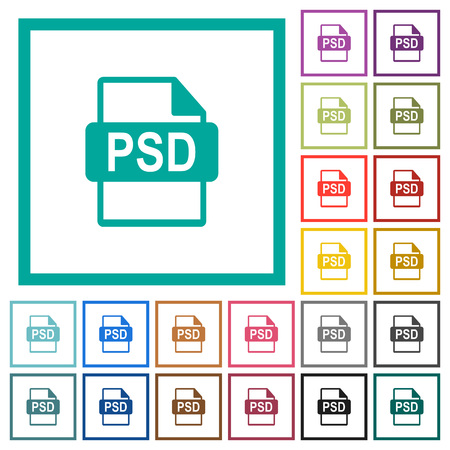 PSD file format flat color icons with quadrant frames on white background Vectores